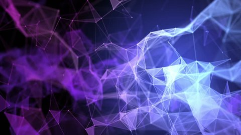 Blue and purple plexus structure in organic motion and flickering lights in the background. Abstract science, technology and engineering motion background. Depth of field settings. 3D rendering.