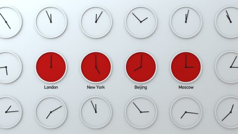Time zone clocks on the wall, time flying by, international time