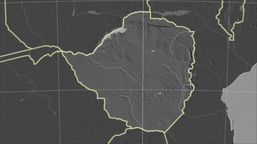 The Zimbabwe area map in the Azimuthal Equidistant projection. Layers of main cities, capital, administrative borders and graticule. Elevation & bathymetry - grayscale contrasted