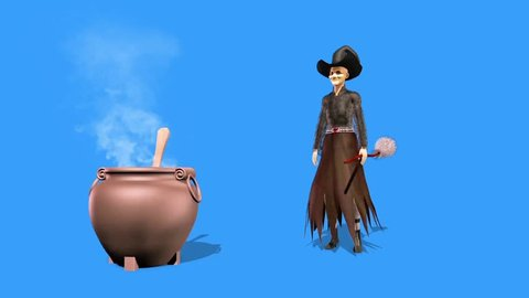Witch Dances Cauldron Halloween Blue Screen 3D Rendering Animation Horror