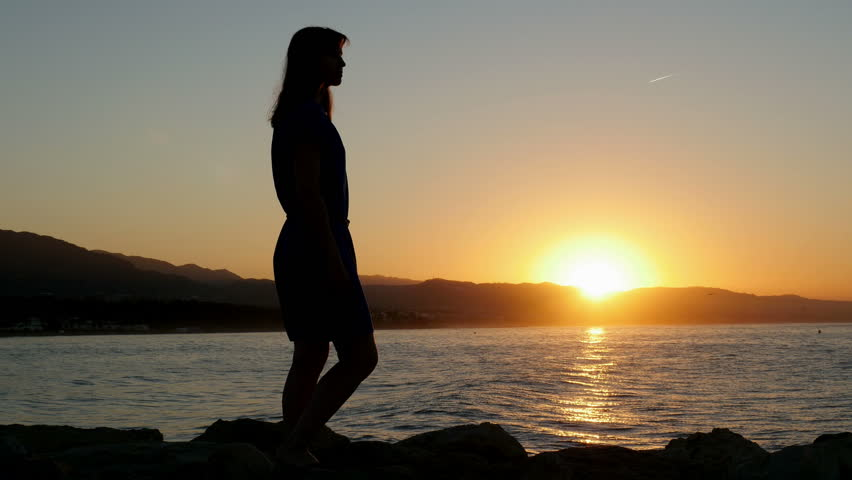 Beautiful Sexy Woman Silhouette Walking On The Beach Near -8779