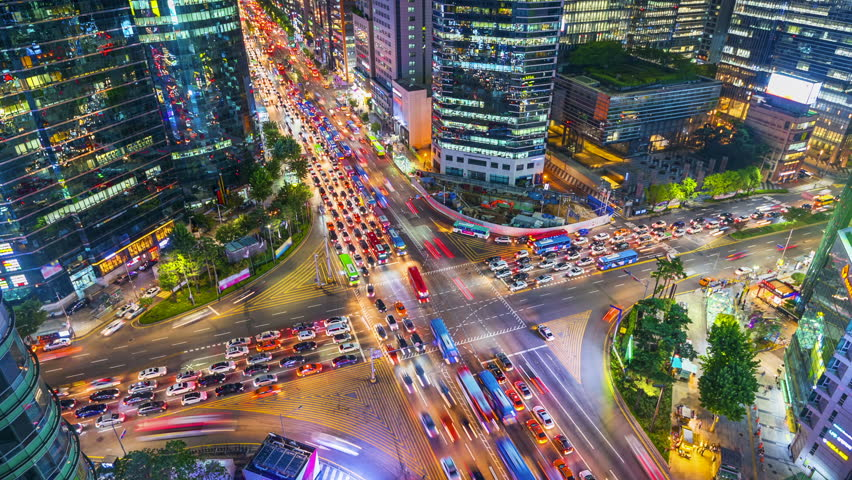 Timelapse Traffic at night in Gangnam City Seoul, South Korea.Zoom in | Shutterstock HD Video #31023637