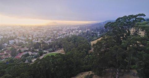 Aerial of berkeley university & The Cal Campus Campanile