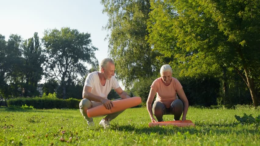 Cheerful aged couple preparing for sport exercises | Shutterstock HD Video #31034935