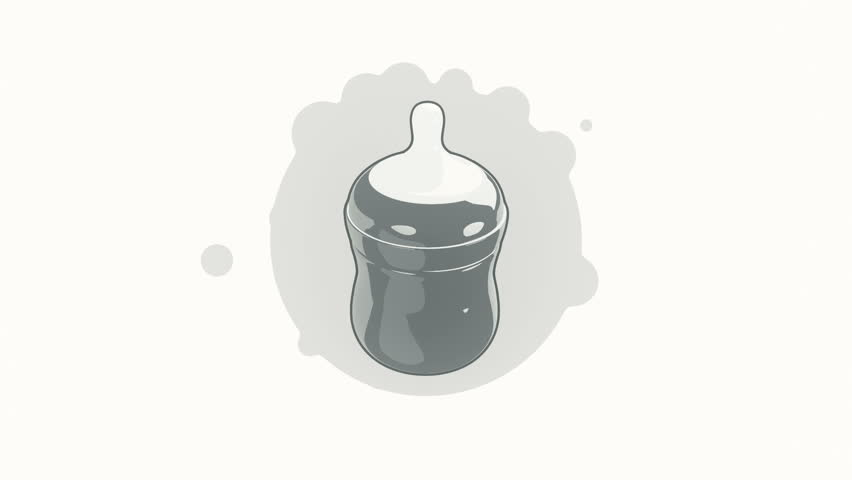 Animation rotation of feeding bottle in flat icon style on colorful background with circle with flying particles. Line art style. Animation of seamless loop.