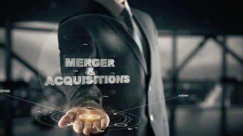 Merger & Acquisitions with hologram businessman concept