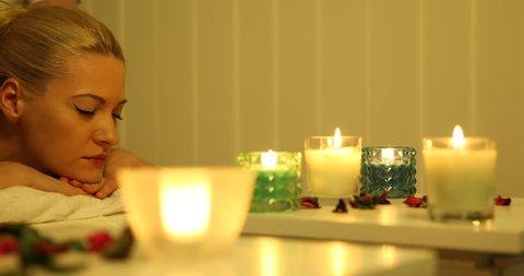 Blonde Hair Client Woman Receiving Body Massage Luxury Health Beauty Spa Club