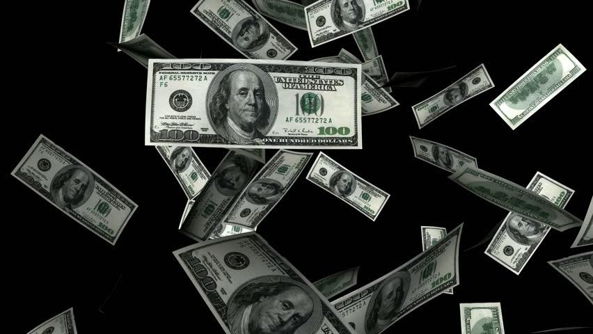 money confetti explosion 100 usd 2 alpha channel