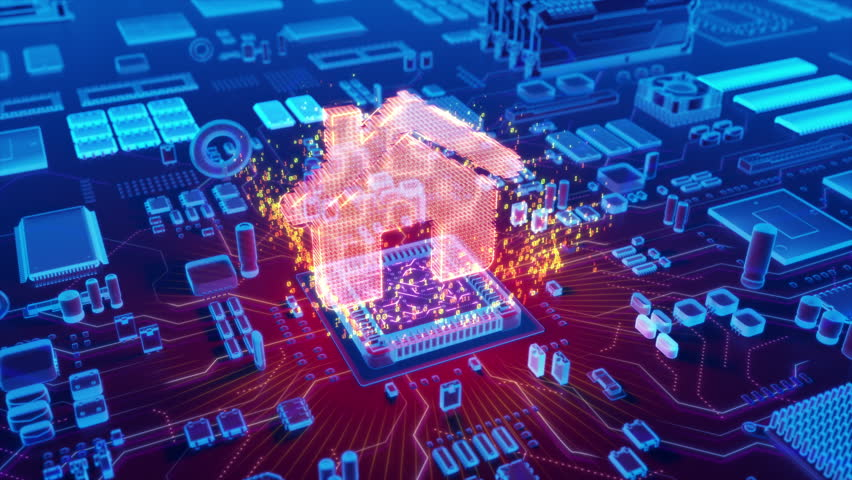 Futuristic animation of holographic house icon emerging from microprocessor on electronic circuit board | Shutterstock HD Video #31091527