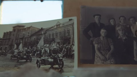 Morgh Village, Ternopil Region, Ukraine - August 24, 2017: Old photos of the life of one family from the era of the Soviet Union during the 1920s and 1960s