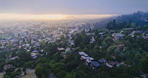 Aerial of berkeley university & The Cal Campus Campanile. 25 July, 2017, Berkeley, USA