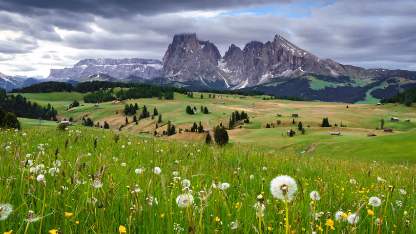 4K Time lapse of Mountain Langkofel view from Alpe Di Siusi, Dolomites, Italy  | Shutterstock HD Video #31112977