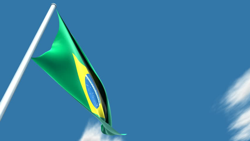 Brazilian flag. This a very realistic 3D render. The clouds are moving very slowly. Animation is very fluid