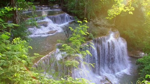 Beautiful waterfall in the national park forest at Huai Mae Khamin Waterfall, Kanchanaburi Thailand