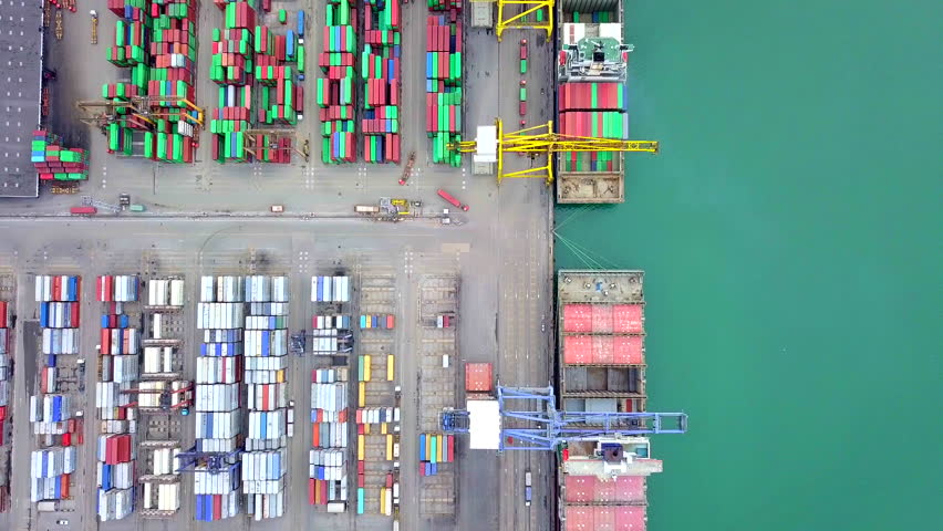 Aerial view port container terminal container ship in import export and business logistic at Deep water port singapore