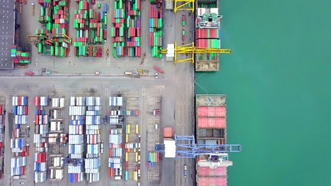 Aerial view port container terminal container ship in import export and business logistic at Deep water port