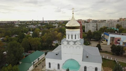 4K high quality aerial video footage of historical Christ The Saviour cathedral in historical town Alexandrov in Vladimir oblast on Golden Ring route, eastern Russia, 180 km from Moscow