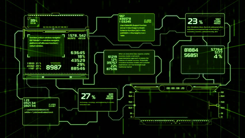 Beautiful Flowcharts Drawing Animation with Flashes and Lines Green Color. Futuristic HUD with Numbers and Code Running. Head-up Display Computer Data. High Tech Concept Element. Full HD 1920x1080.