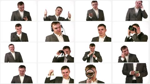 Businessman talks, applauds, speaks phone and performs other actions, collage, HD.