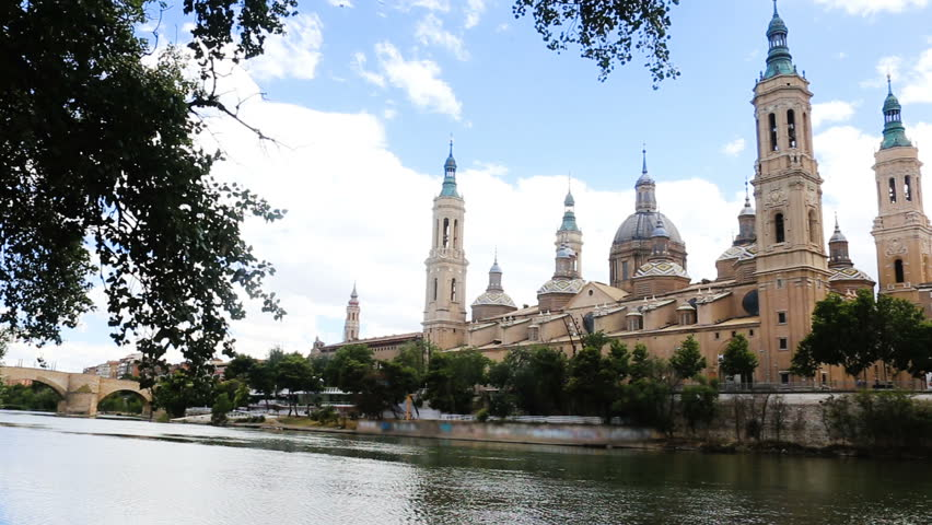 Basilica of Our Lady of the Pillar in day time. Zaragoza, Spain
