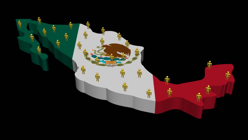 Mexico Map Flag With Population Stock Footage Video 100 Royalty