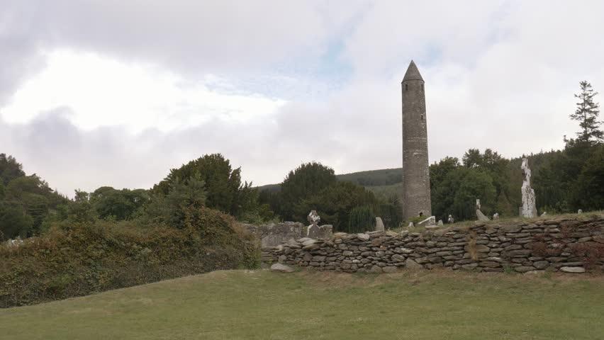 Glendalough monastic site round tower, Ireland | Shutterstock HD Video #31266067