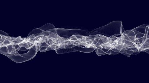 Animated chaotic smoke like cg art in white