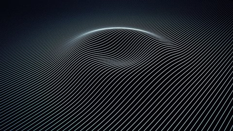 Abstract background with wavy color lines. Animation ripples on surface from neon lines. Animation of seamless loop.