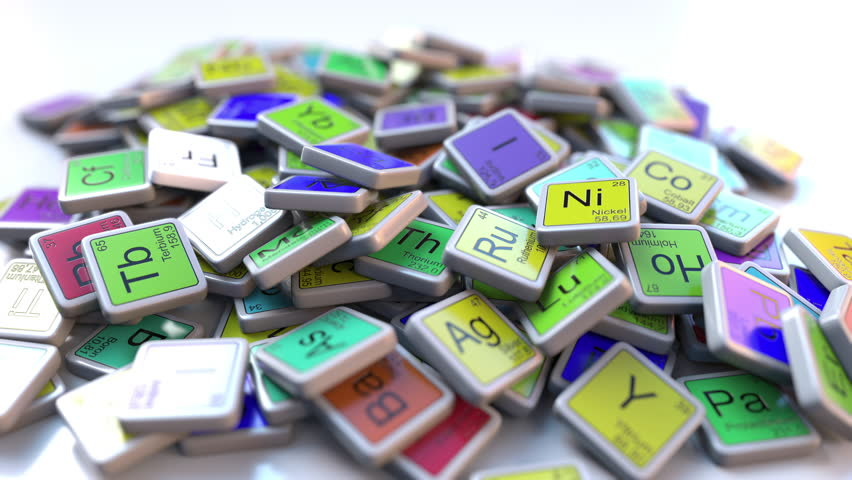 Bromine Br block on the pile of periodic table of the chemical elements blocks. Chemistry related intro animation