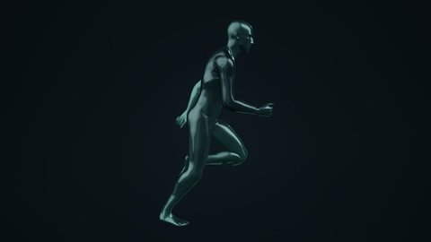 Animation of running abstract man on colorful background. Animation of seamless loop.