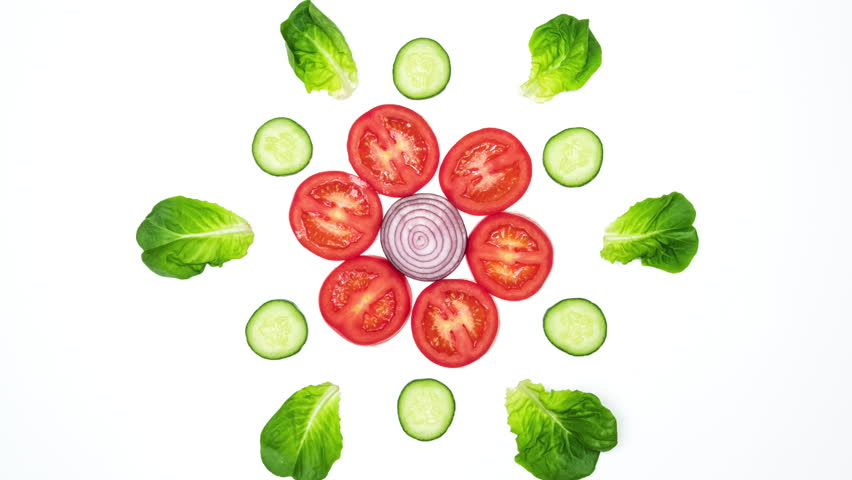 Top view on vegetable slices dancing on white background. 4k stop motion animation loop. | Shutterstock HD Video #31315297