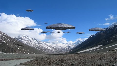 Loop of alien spaceships flying in the Himalayan mountains, for futuristic, fantasy and war game backgrounds.