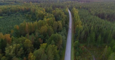 Sky view of autumn road with cars. Aerial view country road in autumn forest. Autumn forest and highway road drone view. Autumn car road in forest top view. Aerial landscape. Tracking shot.