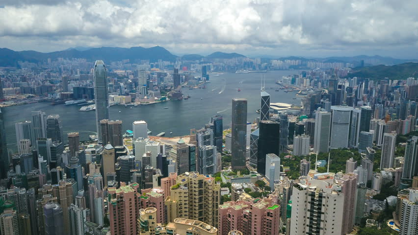 Aerial hyperlapse video of Victoria Harbour in Hong Kong