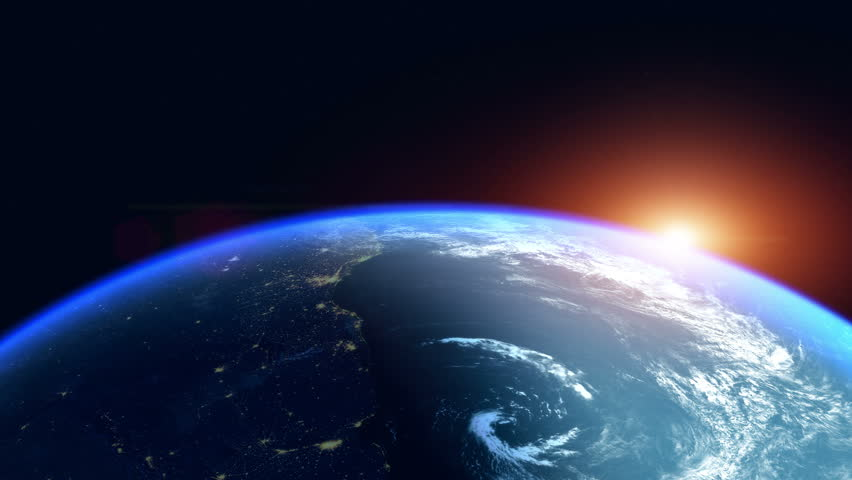Sunrise Over The Earth. Globe with City Night Lights. View Of Planet Earth From Space. Southern Hemisphere Close Up. Realistic 3d Animation with Ultra High Detailed and Natural Textures.