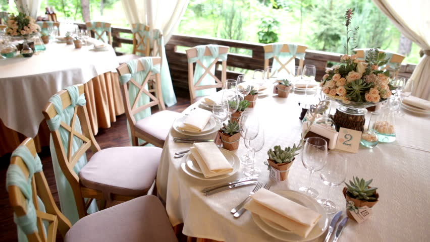 Table Layout At A Wedding Reception Wedding Celebration Party Setup