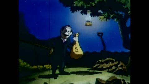 CIRCA 1940s - 1948 animated film shows a man named Joe Doakes borrowing money from his family in 1891.
