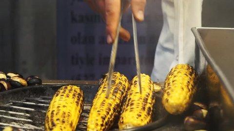 Street Vendor Grilling Corns, Istanbul, Turkey