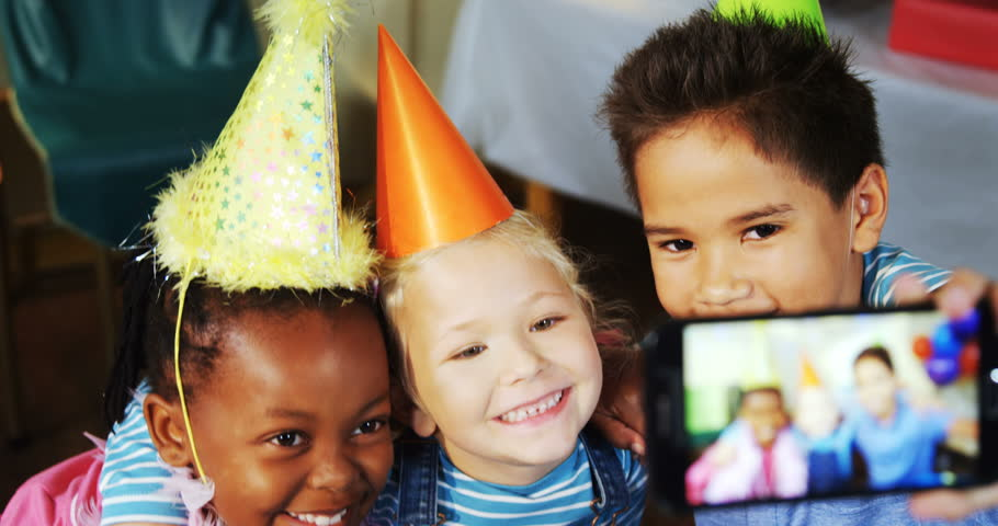 Kids talking selfie during birthday party at home 4k