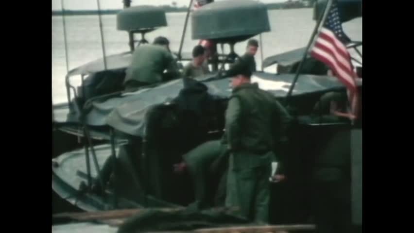 CIRCA 1960s - U.S. Navy River Patrol Boats patrols waters in the Rung Sat during the Vietnam War.