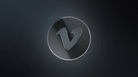 Editorial Animation: 3D rotation of symbol of Vimeo logo from glass. Animation of seamless loop.