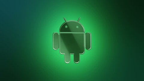 Editorial Animation: 3D rotation of symbol of Android logo from glass. Animation of seamless loop.