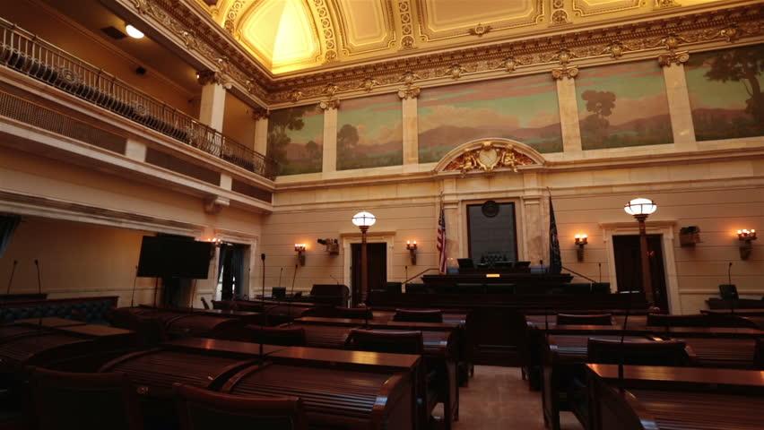 SALT LAKE CITY, UTAH NOV 2012: Utah State Capital Senate Chamber Pan. Utah