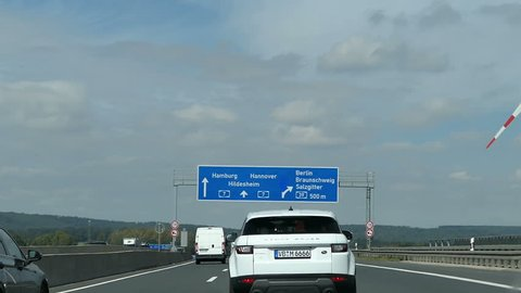 Salzgitter, Lower-Saxony  / GERMANY September 05 2017: Motorway Interchange Salzgitter with road A7 towards Flensburg, Hannover and Kassel and A39 towards Hamburg and Salzgitter (Germany).