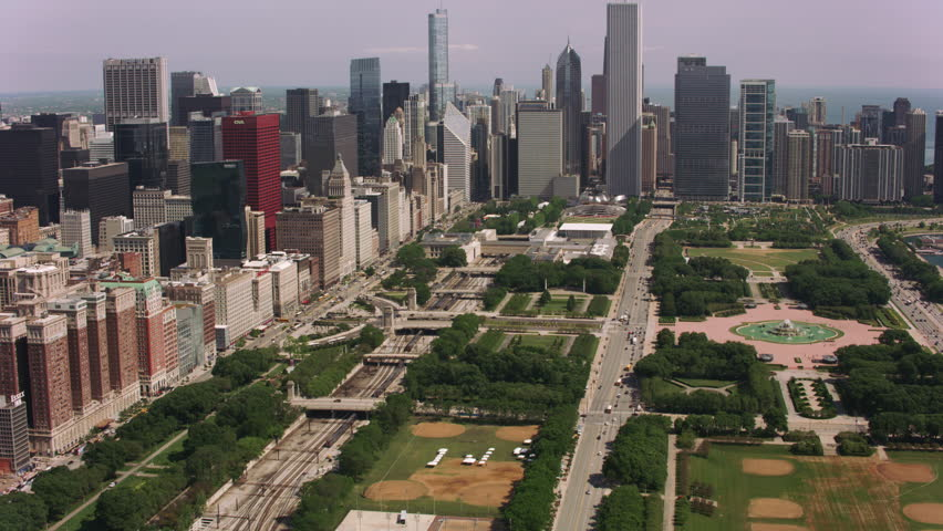 Chicago, Illinois circa-2017, Aerial shot of Grant Park, Buckingham Fountain and downtown Chicago. Shot with Cineflex and RED Epic-W Helium.