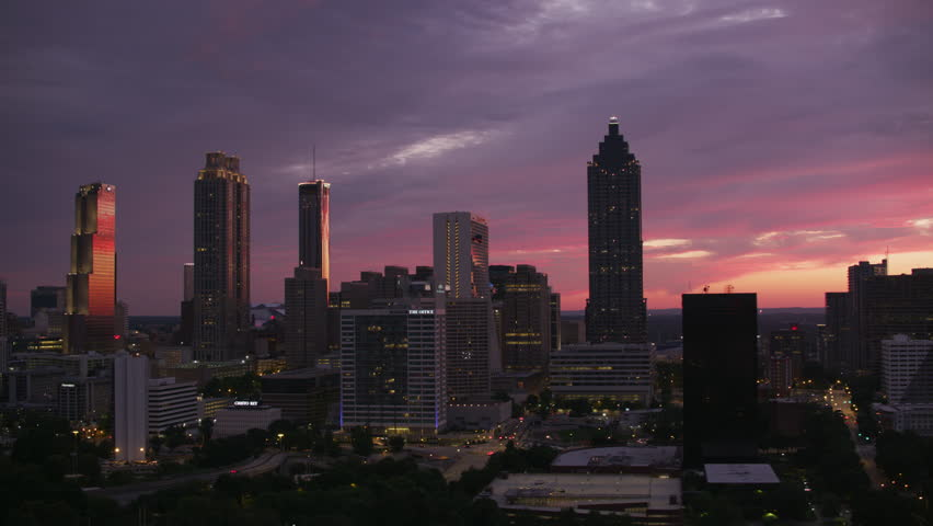 Atlanta, Georgia circa-2017, Aerial shot of downtown Atlanta at sunset. Shot with Cineflex and RED Epic-W Helium.