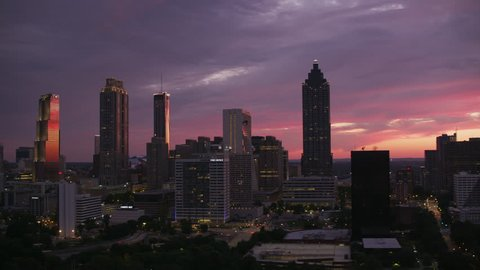 Atlanta, Georgia circa-2017, Aerial shot of downtown Atlanta at sunset. Shot with Cineflex and RED Epic-W Helium.