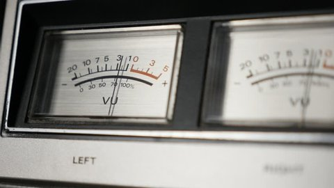 Shallow DOF of standard volume indicator scale 1080p FullHD footage - Vintage audio device analog VU meter slow motion 1920X1080 HD video