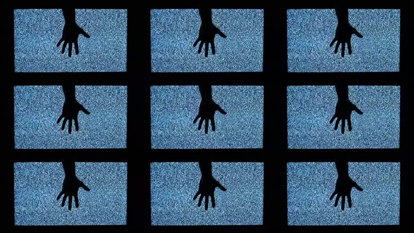 TV channel noise and black hands in television screens