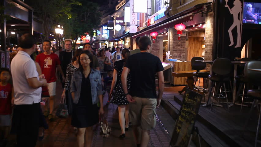 Singapore - CIRCA February 2017 : Point of view night walk on Clarke Quay - CIRCA February 2017, Singapore